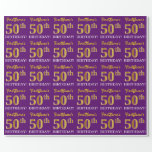 """[ Thumbnail: Purple, Imitation Gold Look """"50th Birthday"""" Wrapping Paper ]"""