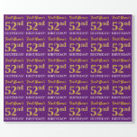 """[ Thumbnail: Purple, Imitation Gold Look """"52nd Birthday"""" Wrapping Paper ]"""