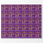 """[ Thumbnail: Purple, Imitation Gold Look """"53rd Birthday"""" Wrapping Paper ]"""