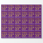 """[ Thumbnail: Purple, Imitation Gold Look """"55th Birthday"""" Wrapping Paper ]"""