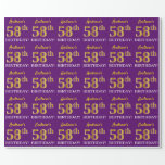 """[ Thumbnail: Purple, Imitation Gold Look """"58th Birthday"""" Wrapping Paper ]"""