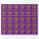 "[ Thumbnail: Purple, Imitation Gold Look ""70th Birthday"" Wrapping Paper ]"