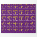 "[ Thumbnail: Purple, Imitation Gold Look ""71st Birthday"" Wrapping Paper ]"