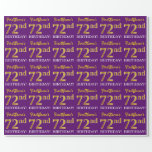 "[ Thumbnail: Purple, Imitation Gold Look ""72nd Birthday"" Wrapping Paper ]"