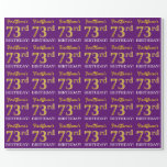 "[ Thumbnail: Purple, Imitation Gold Look ""73rd Birthday"" Wrapping Paper ]"