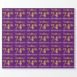 "[ Thumbnail: Purple, Imitation Gold Look ""74th Birthday"" Wrapping Paper ]"