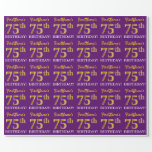 "[ Thumbnail: Purple, Imitation Gold Look ""75th Birthday"" Wrapping Paper ]"
