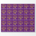 "[ Thumbnail: Purple, Imitation Gold Look ""76th Birthday"" Wrapping Paper ]"