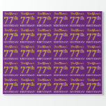 "[ Thumbnail: Purple, Imitation Gold Look ""77th Birthday"" Wrapping Paper ]"