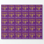 "[ Thumbnail: Purple, Imitation Gold Look ""78th Birthday"" Wrapping Paper ]"