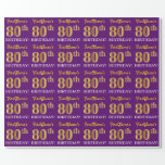 "[ Thumbnail: Purple, Imitation Gold Look ""80th Birthday"" Wrapping Paper ]"
