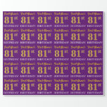 "[ Thumbnail: Purple, Imitation Gold Look ""81st Birthday"" Wrapping Paper ]"