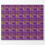 "[ Thumbnail: Purple, Imitation Gold Look ""82nd Birthday"" Wrapping Paper ]"