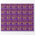 "[ Thumbnail: Purple, Imitation Gold Look ""83rd Birthday"" Wrapping Paper ]"