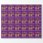 "[ Thumbnail: Purple, Imitation Gold Look ""84th Birthday"" Wrapping Paper ]"