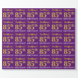 "[ Thumbnail: Purple, Imitation Gold Look ""85th Birthday"" Wrapping Paper ]"