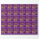 "[ Thumbnail: Purple, Imitation Gold Look ""86th Birthday"" Wrapping Paper ]"