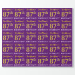 "[ Thumbnail: Purple, Imitation Gold Look ""87th Birthday"" Wrapping Paper ]"