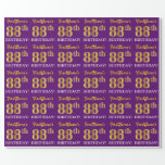 "[ Thumbnail: Purple, Imitation Gold Look ""88th Birthday"" Wrapping Paper ]"