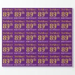 "[ Thumbnail: Purple, Imitation Gold Look ""89th Birthday"" Wrapping Paper ]"