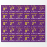 "[ Thumbnail: Purple, Imitation Gold Look ""8th Birthday"" Wrapping Paper ]"