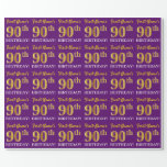 "[ Thumbnail: Purple, Imitation Gold Look ""90th Birthday"" Wrapping Paper ]"
