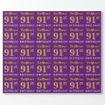 "[ Thumbnail: Purple, Imitation Gold Look ""91st Birthday"" Wrapping Paper ]"
