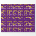 "[ Thumbnail: Purple, Imitation Gold Look ""92nd Birthday"" Wrapping Paper ]"