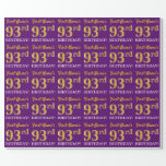 "[ Thumbnail: Purple, Imitation Gold Look ""93rd Birthday"" Wrapping Paper ]"