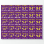 "[ Thumbnail: Purple, Imitation Gold Look ""94th Birthday"" Wrapping Paper ]"