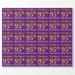 "[ Thumbnail: Purple, Imitation Gold Look ""95th Birthday"" Wrapping Paper ]"