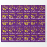 "[ Thumbnail: Purple, Imitation Gold Look ""96th Birthday"" Wrapping Paper ]"