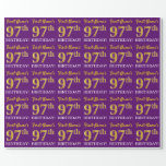 "[ Thumbnail: Purple, Imitation Gold Look ""97th Birthday"" Wrapping Paper ]"
