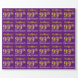 "[ Thumbnail: Purple, Imitation Gold Look ""99th Birthday"" Wrapping Paper ]"