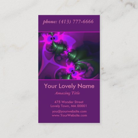 Purple Imp, Abstract Violet and Magenta Ribbons Business Card
