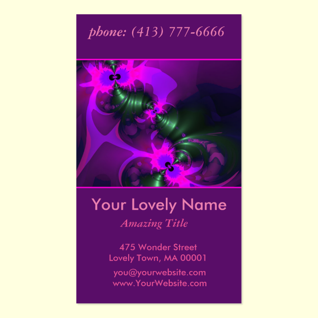 Purple Imp, Abstract Violet and Magenta Ribbons Double-Sided Standard Business Cards (Pack Of 100)