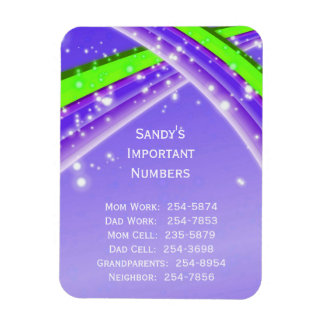 Purple Important Phone Numbers Magnet