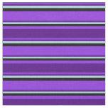 [ Thumbnail: Purple, Indigo, Light Blue & Black Pattern Fabric ]