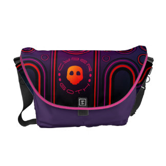 Purple Industrial Cyber Goth Robot Futuristic Messenger Bag