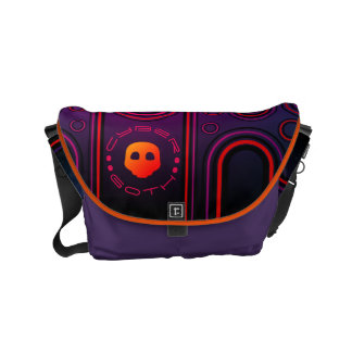 Purple Industrial Cyber Goth Robot Futuristic Small Messenger Bag