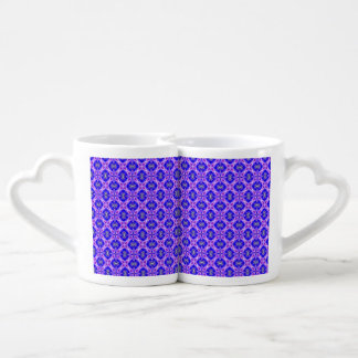 Purple Infinity Signs Abstract Blue Violet Flowers Couples' Coffee Mug Set