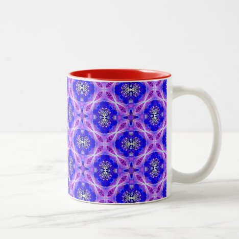 Purple Infinity Signs Violet Blue Flowers Two-Tone Coffee Mug