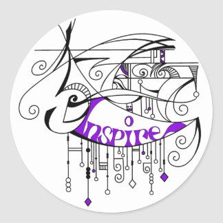 Purple Inspire In Lines and Dangles Classic Round Sticker