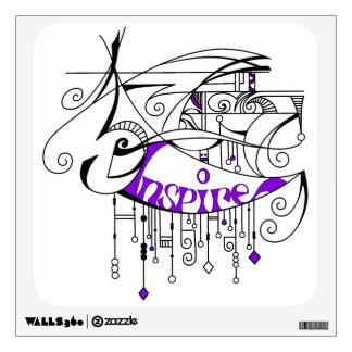 Purple Inspire In Lines and Dangles Wall Decal