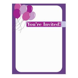 Purple invitation with balloons postcard