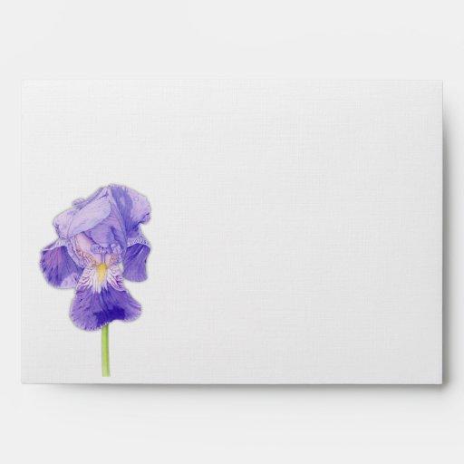 purple iris a7 card envelope zazzle