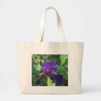 Purple Iris after the Rain Canvas Bags