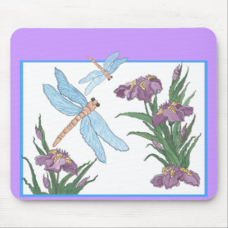 Purple Iris and Blue Dragonfly Mouse Pad