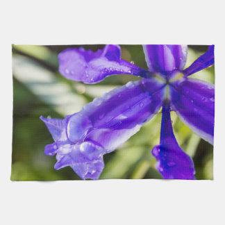 Purple Iris and Raindrops Top View Kitchen Towels