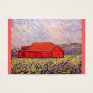 purple iris and red barn business card